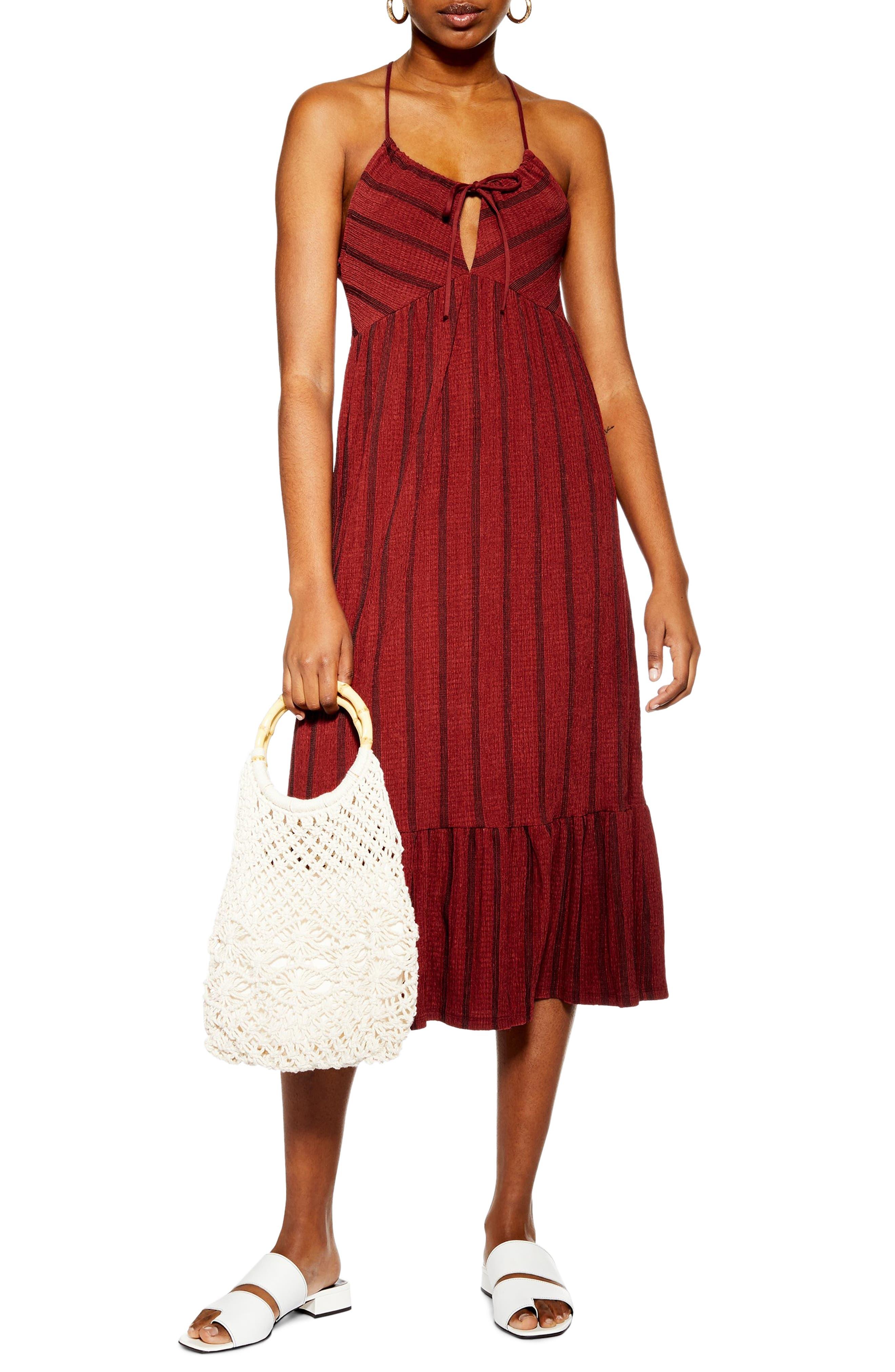 Topshop Stripe Crinkle Sundress, US (fits like 6-8) - Red