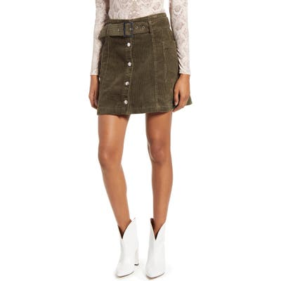Topshop Corduroy Button Belted Miniskirt, US (fits like 6-8) - Green