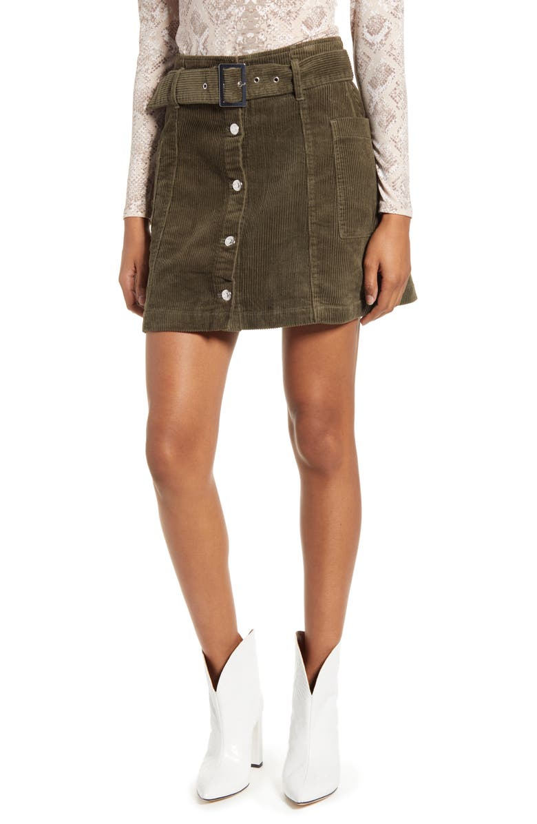 TOPSHOP Corduroy Button Belted Miniskirt, Main, color, OLIVE
