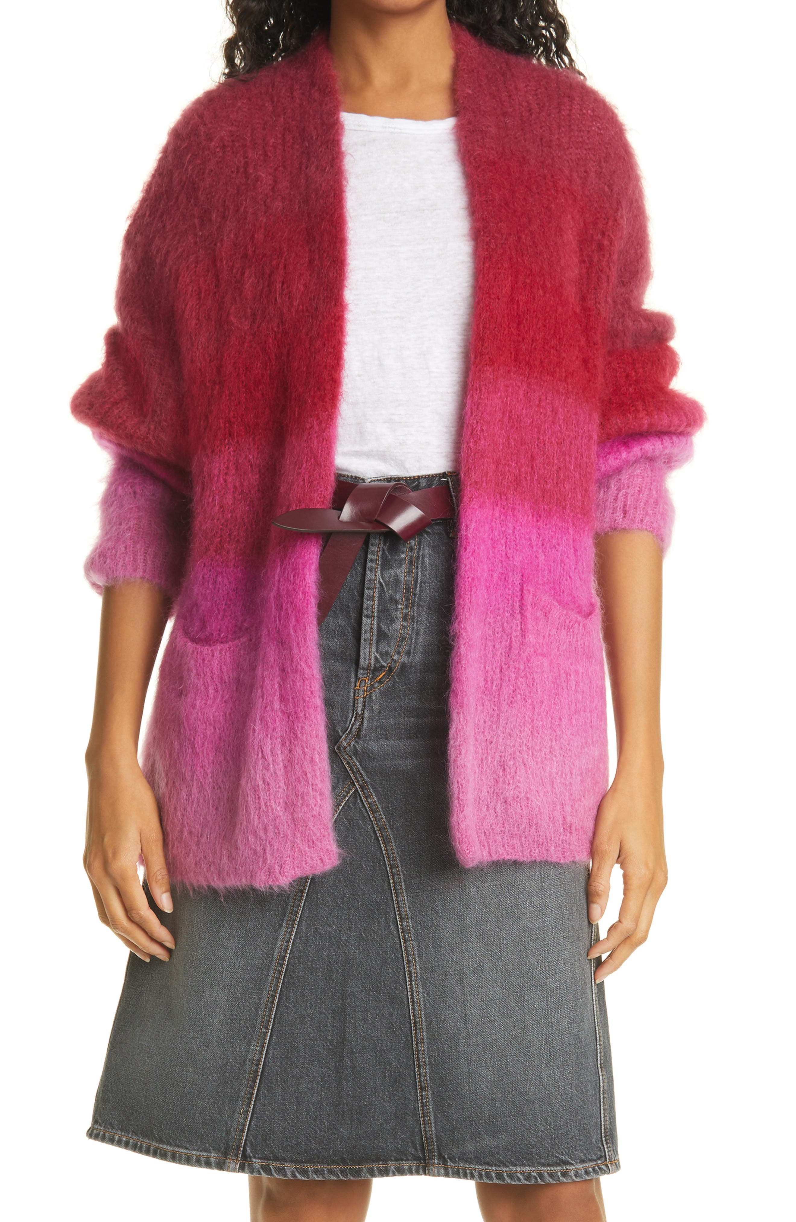Women's Isabel Marant Etoile Dana Colorblock Mohair & Wool Blend Cardigan