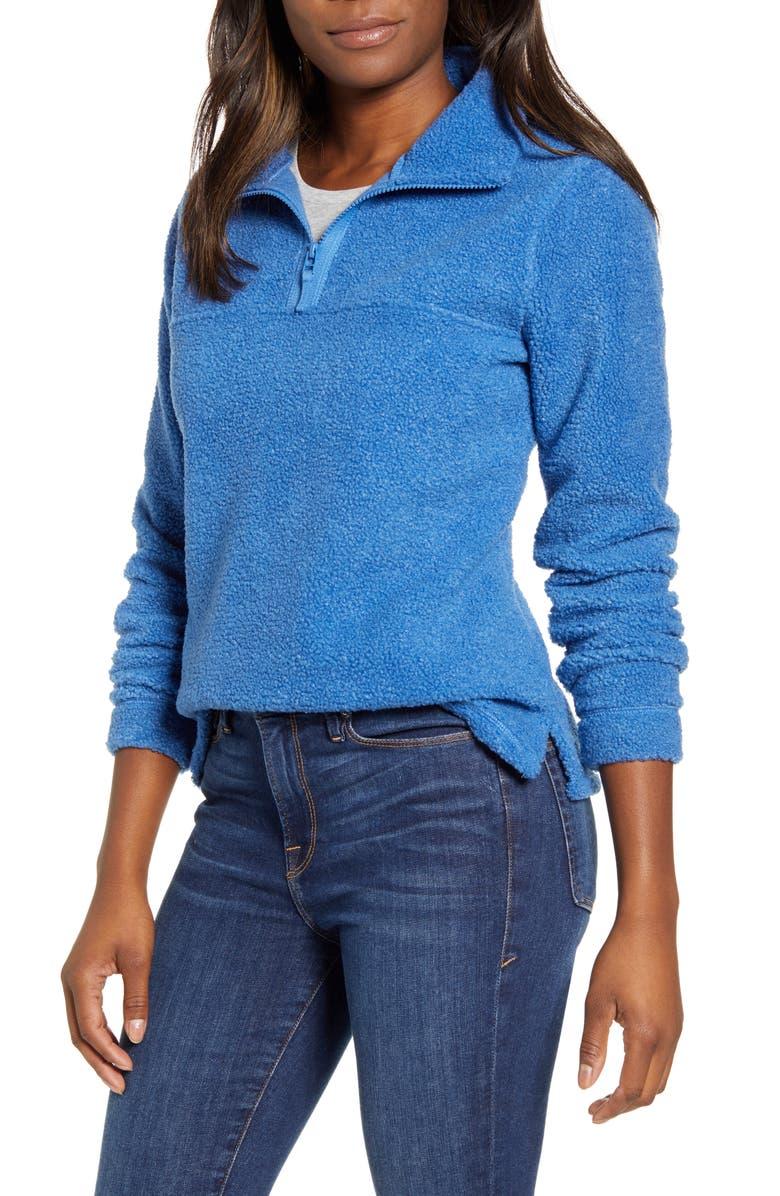 CASLON<SUP>®</SUP> Quarter Zip Fleece Pullover, Main, color, BLUE CHINA