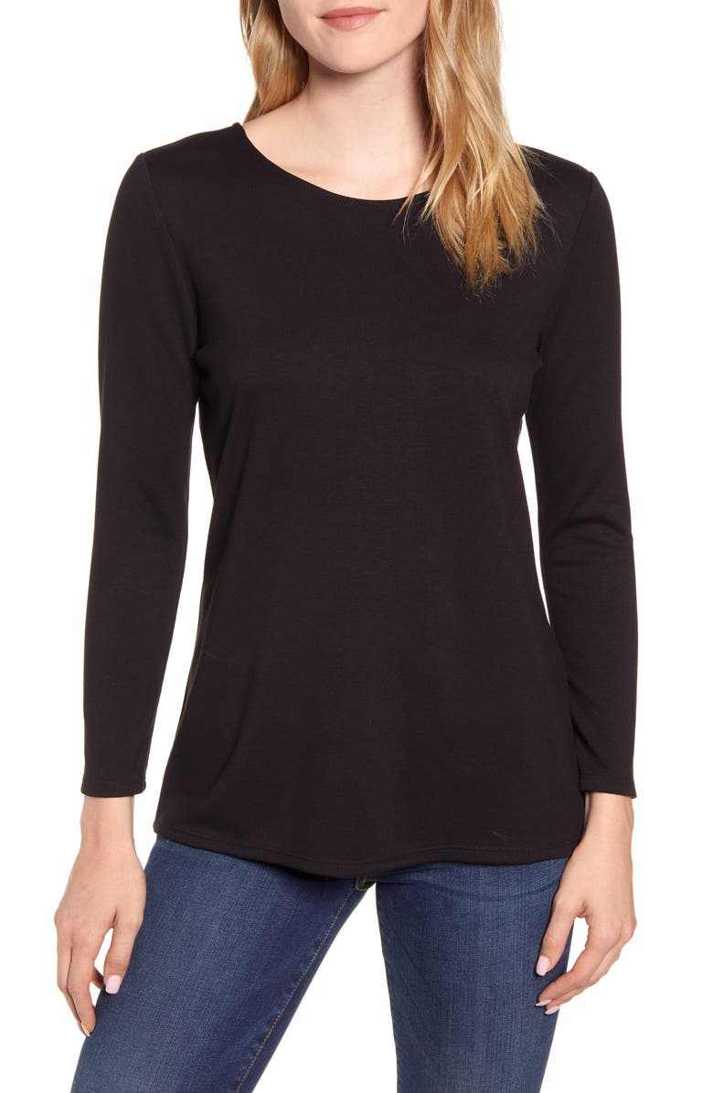 GIBSON Baby Ponte Bow Back Long Sleeve Top, Main, color, BLACK