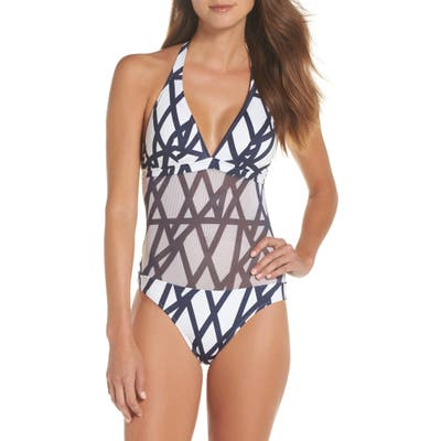 Vilebrequin Graphic Net One-Piece Swimsuit, White