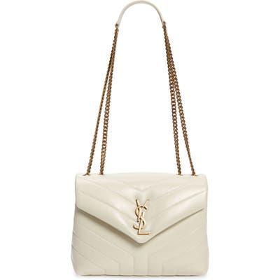 Saint Laurent Small Loulou Leather Shoulder Bag - White