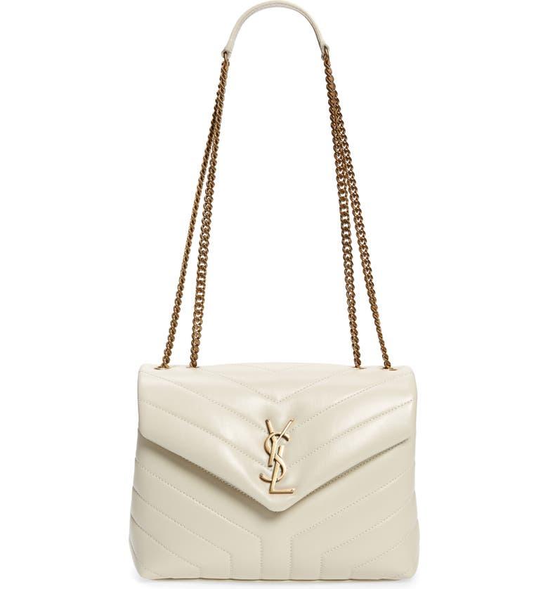 SAINT LAURENT Small Loulou Leather Shoulder Bag, Main, color, BLANC VINTAGE