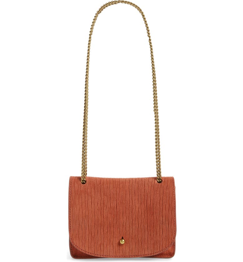 MADEWELL The Chain Corded Leather Crossbody Bag, Main, color, RUSSET