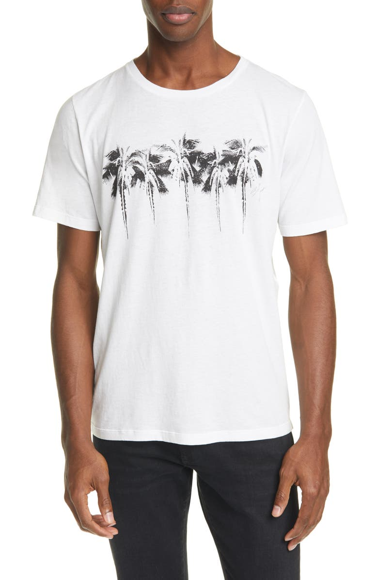 SAINT LAURENT Palm Tree Crewneck T-Shirt, Main, color, 250