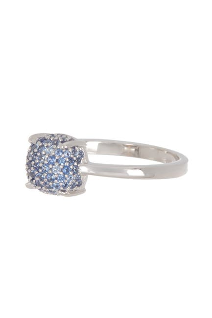 Image of Suzy Levian Sterling Silver Pave Sapphire Cushion Ring
