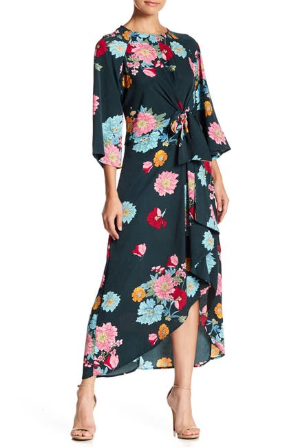 Image of MELLODAY Floral Tie Front Dress
