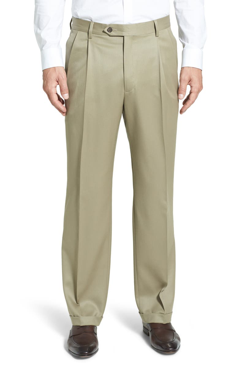 BERLE Pleated Classic Fit Wool Gabardine Dress Pants, Main, color, TAN