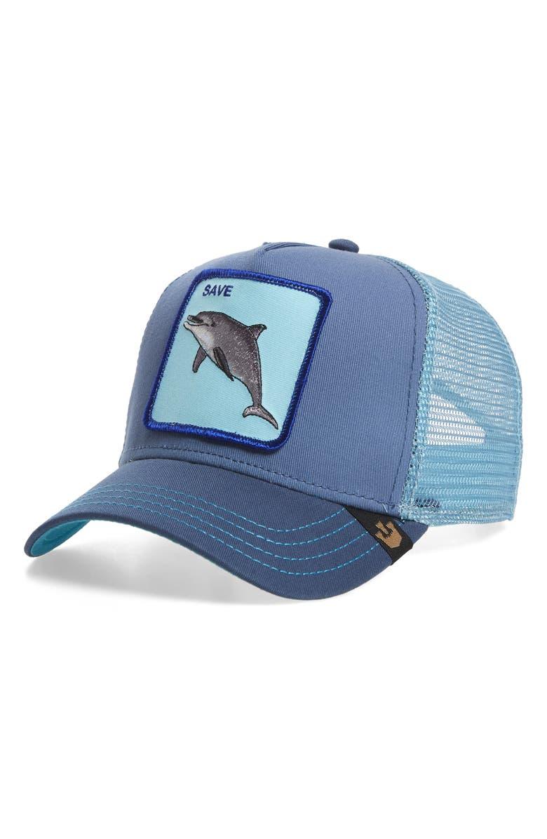 GOORIN BROS. Dolphin Trucker Hat, Main, color, NAVY