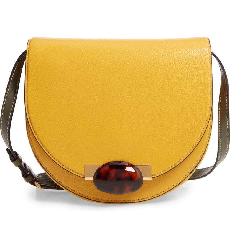 MARNI Galet Leather Crossbody Bag, Main, color, SUN/ MOSSTONE