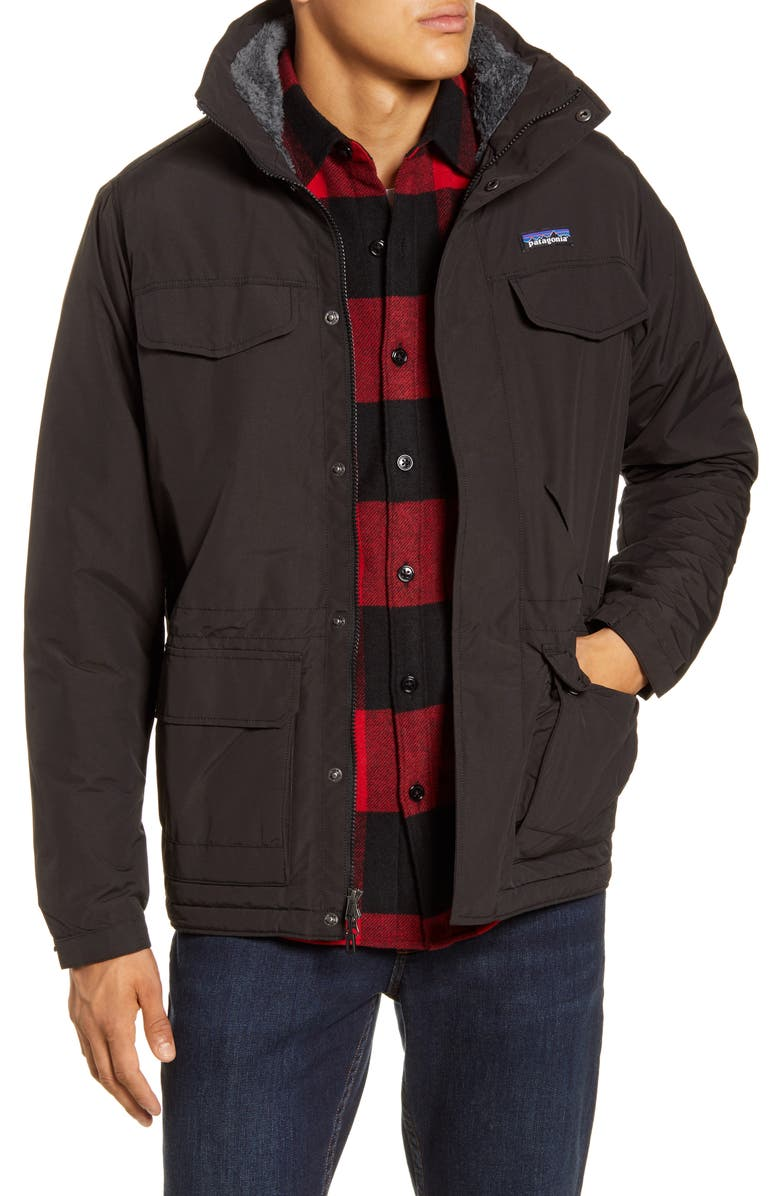 PATAGONIA Isthmus Wind Resistant Water Repellent Hooded Parka, Main, color, BLACK