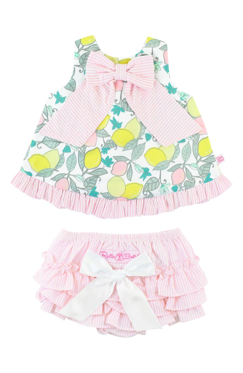 RUFFLEBUTTS Lemonade Swing Top & Ruffle Bloomers Set, Main, color, WHITE