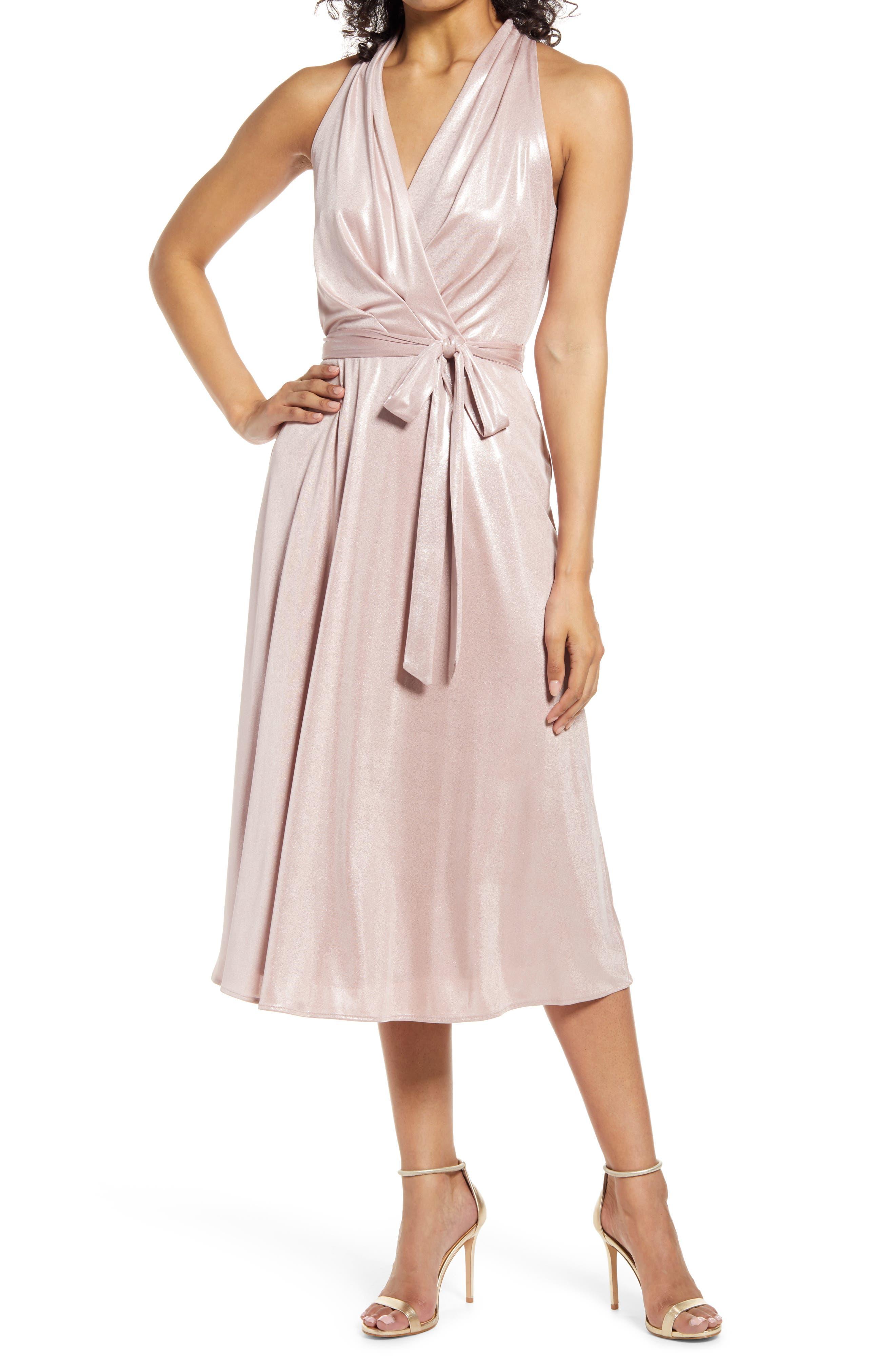 Suprlice Neck Belted Foil Jersey Dress