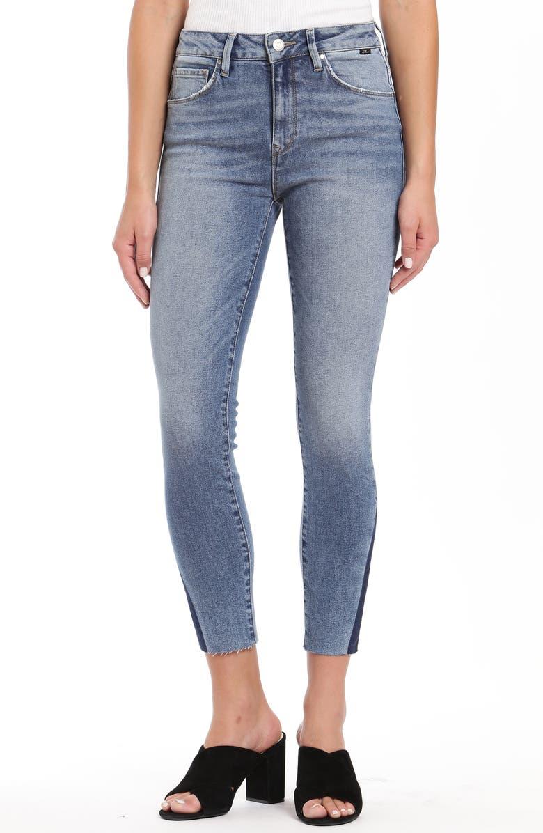 MAVI JEANS Tess High Waist Raw Ankle Skinny Jeans, Main, color, INDIGO BLOCKING
