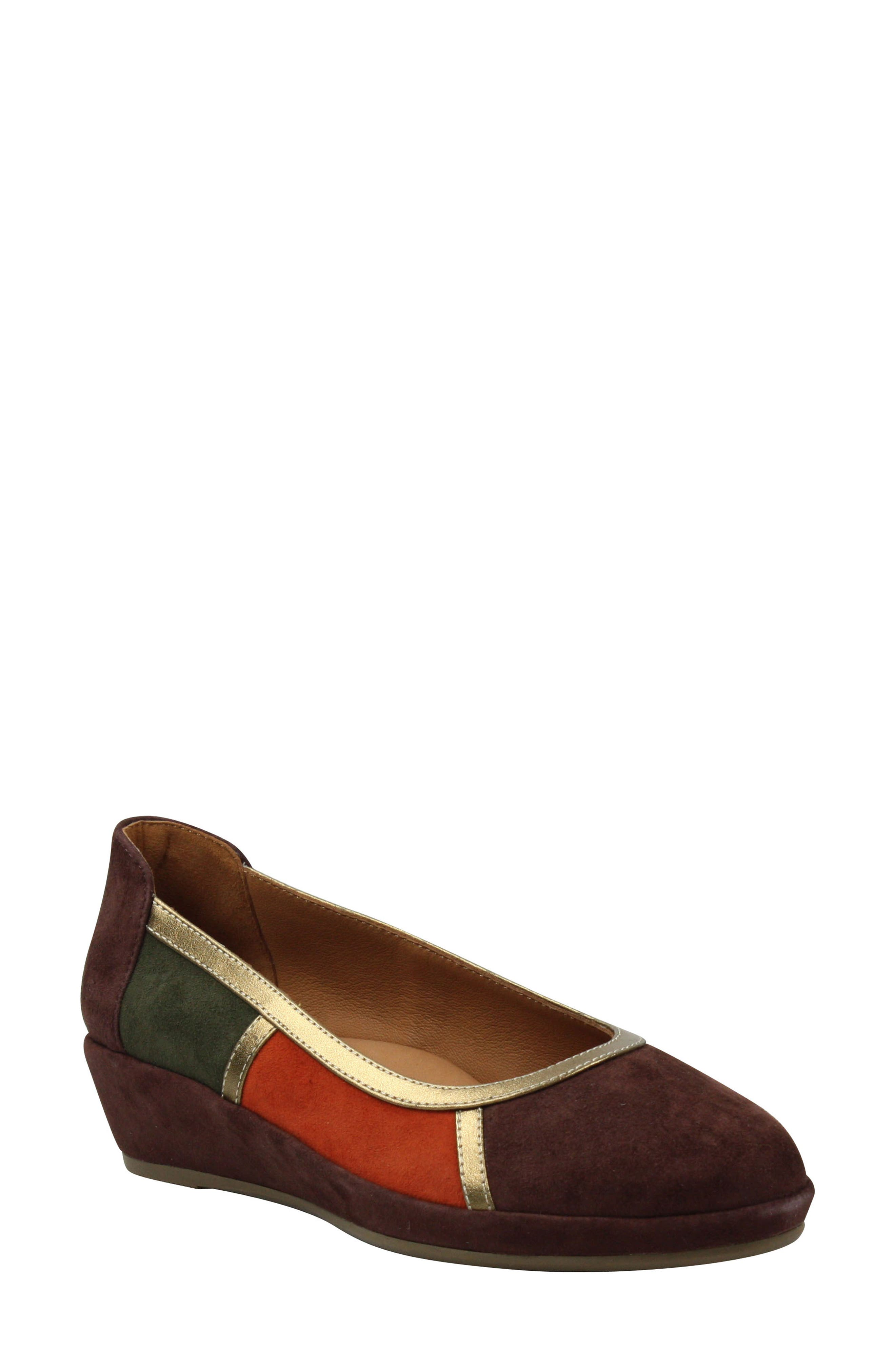 ,                             Betty Jane Wedge,                             Main thumbnail 1, color,                             ESPRESSO/ BRICK SUEDE