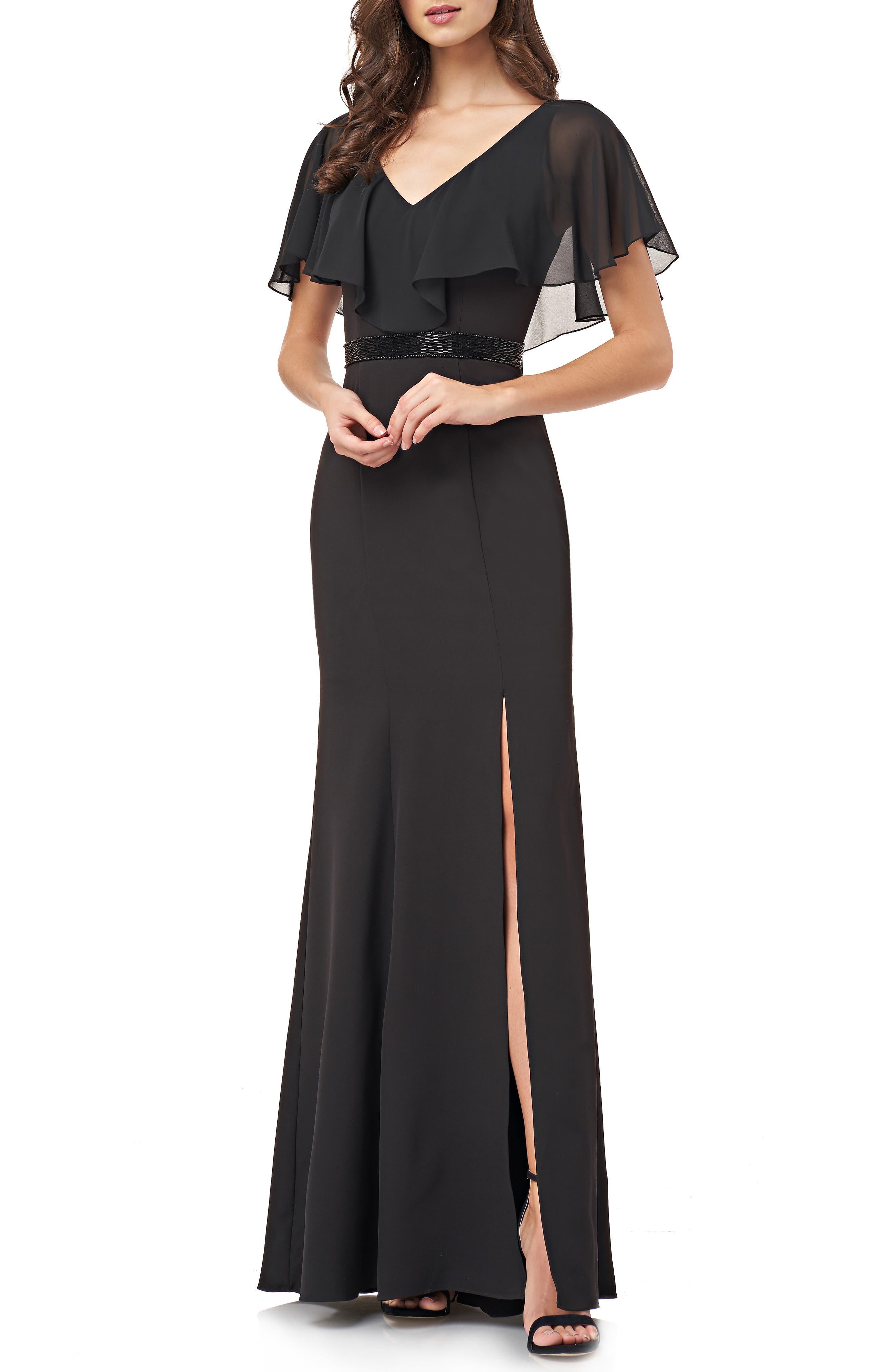 Carmen Marc Valvo Infusion Chiffon Flutter Sleeve Crepe Gown, Black