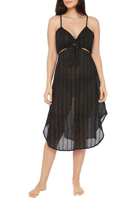 Image of La Blanca Swimwear Lurex Stripe Cutout Front Tie Dress