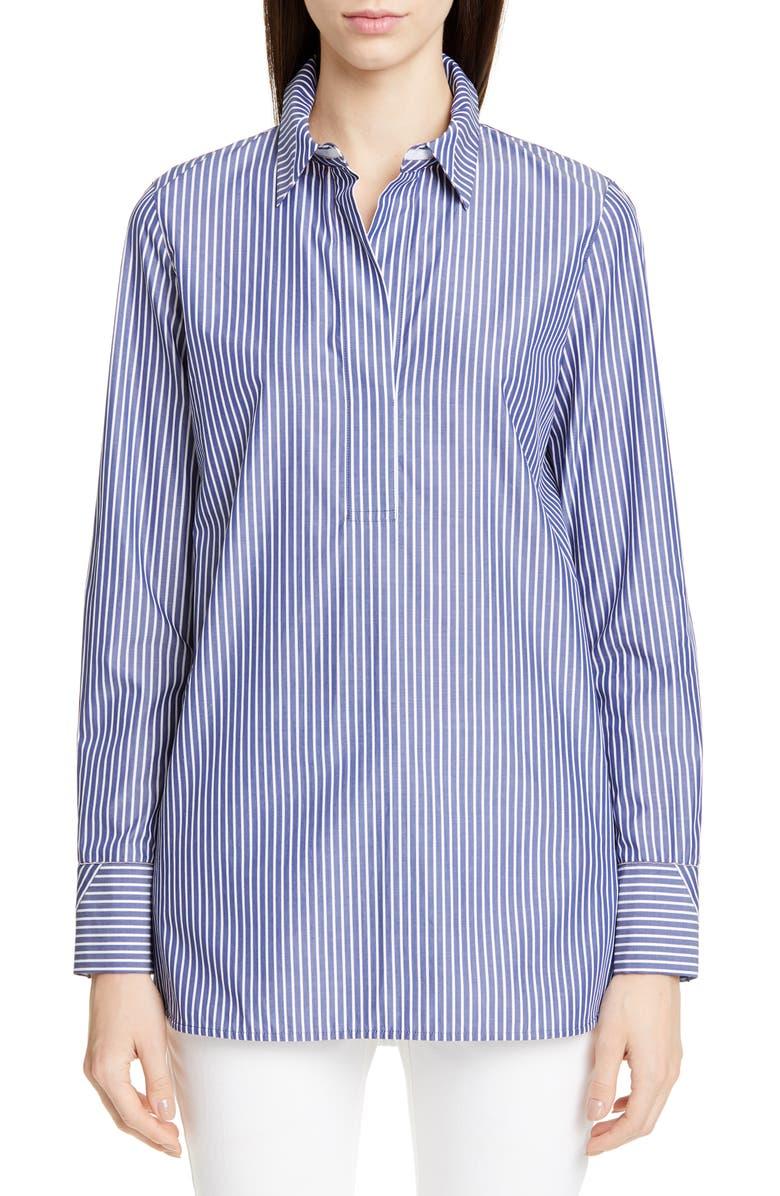 LAFAYETTE 148 NEW YORK Venida Stripe Side Button Shirt, Main, color, 400