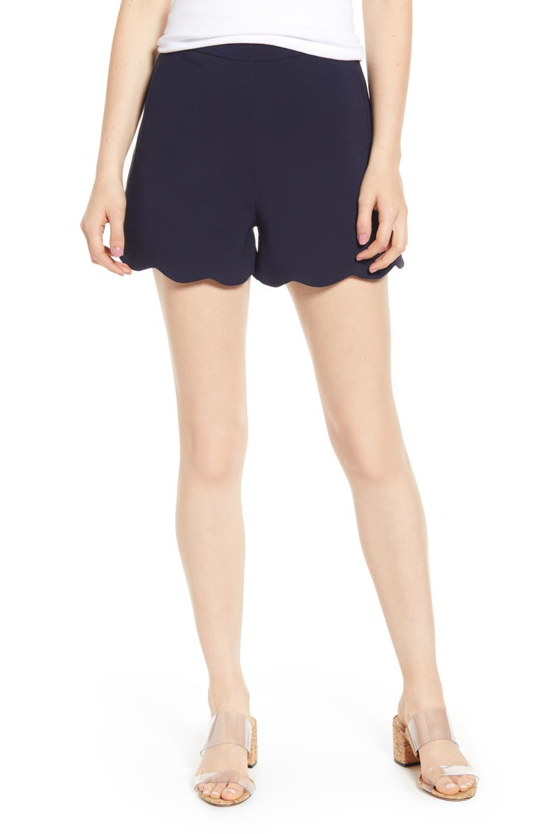 BISHOP + YOUNG Cassidy Scalloped Shorts, Main, color, NAVY