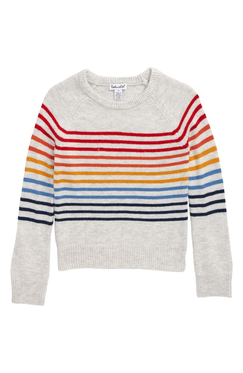 SPLENDID Rainbow Stripe Sweater, Main, color, GREY HEATHER