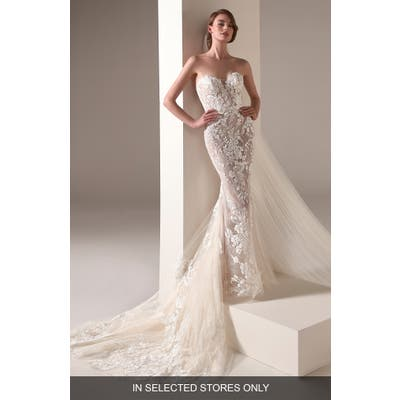Pronovias Zaha Strapless Embellished Lace Sheath Wedding Dress, Size IN STORE ONLY - Ivory