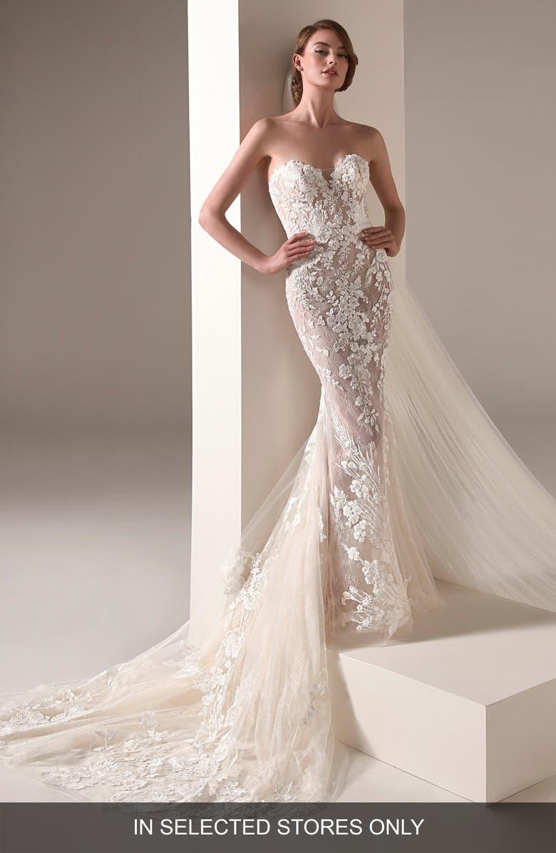 Pronovias Zaha Strapless Embellished Lace Sheath Wedding Dress