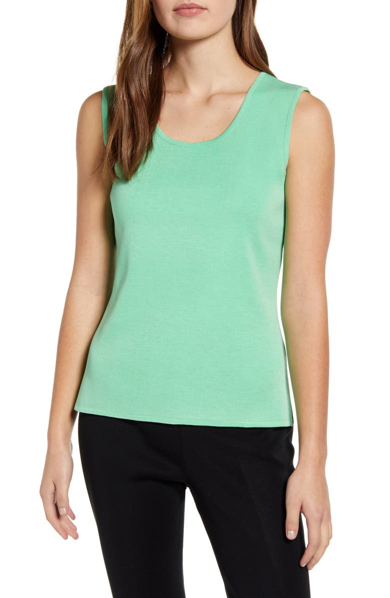 MING WANG Scoop Neck Knit Tank, Main, color, GRANNY SMITH