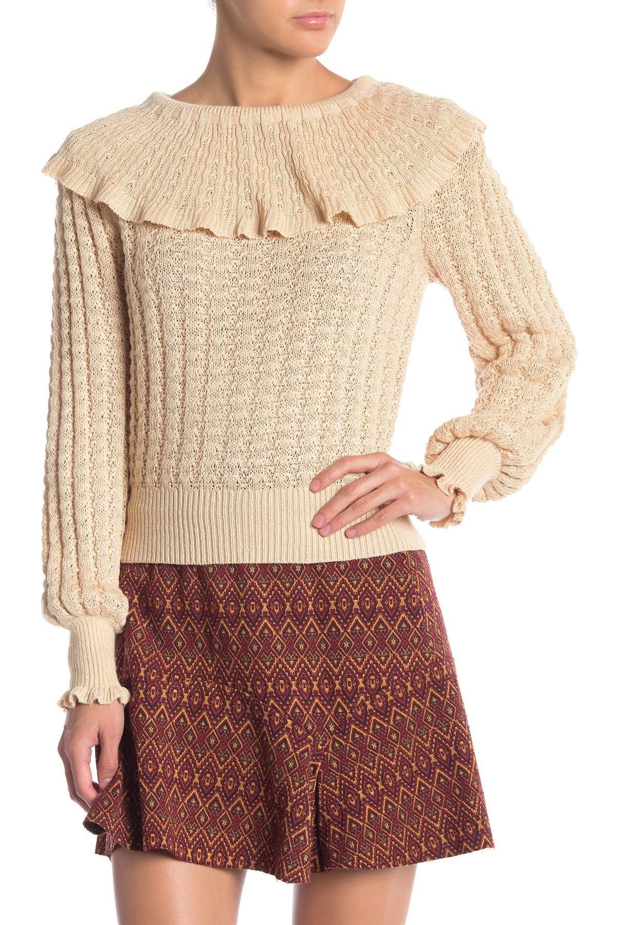 Image of Free People Crazy in Love Ruffle Off-the-Shoulder Sweater Top