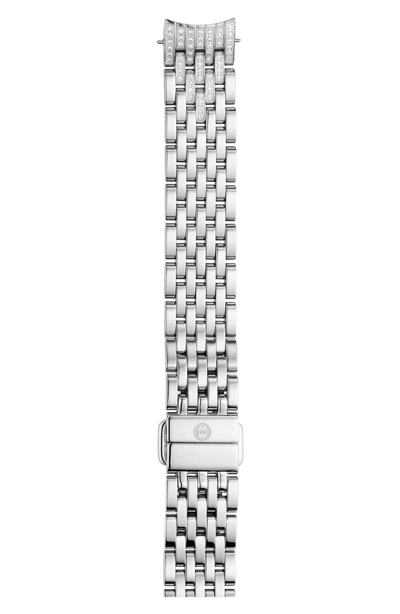 MICHELE Sidney Classic 14mm Pavé Diamond Watchband, Main, color, SILVER