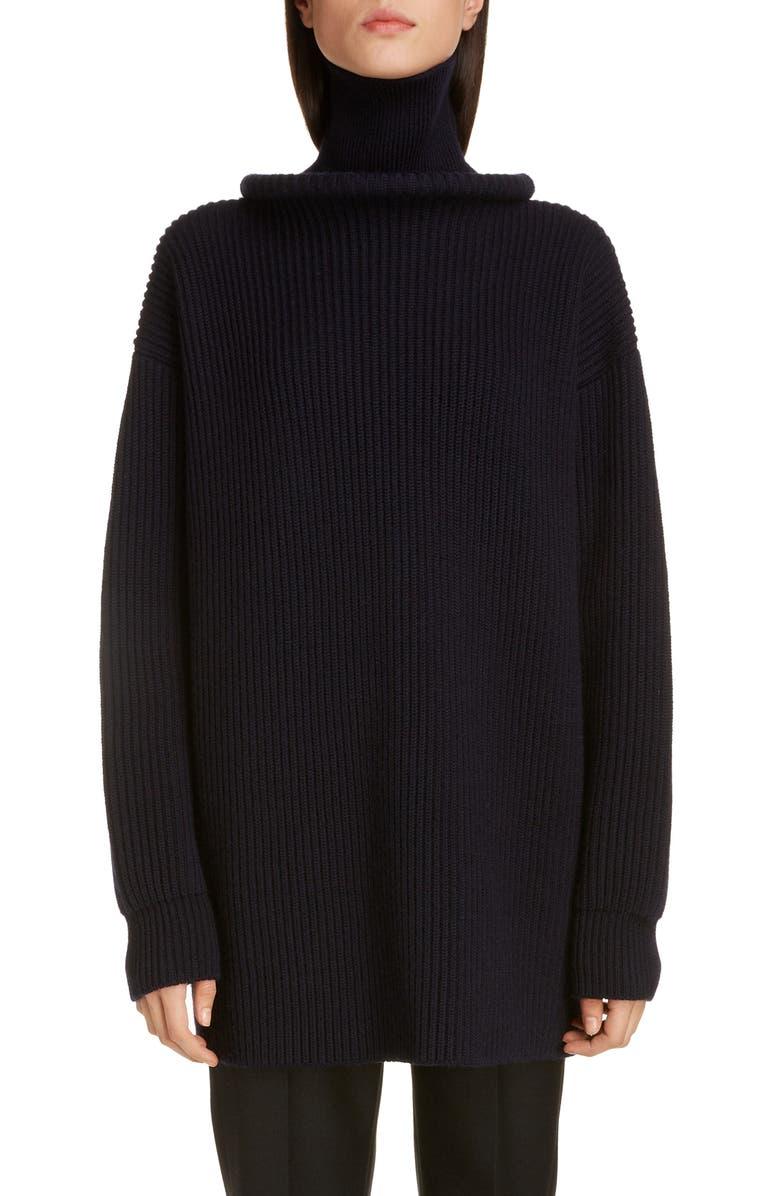 BALENCIAGA Ring Collar Rib Wool Sweater, Main, color, NAVY