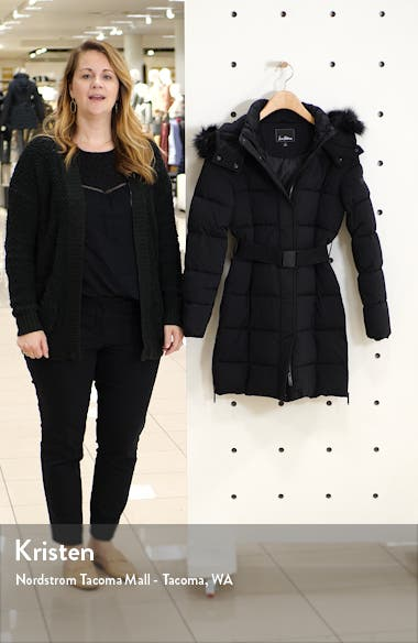 Removable Faux Fur Trim Belted Puffer Coat, sales video thumbnail