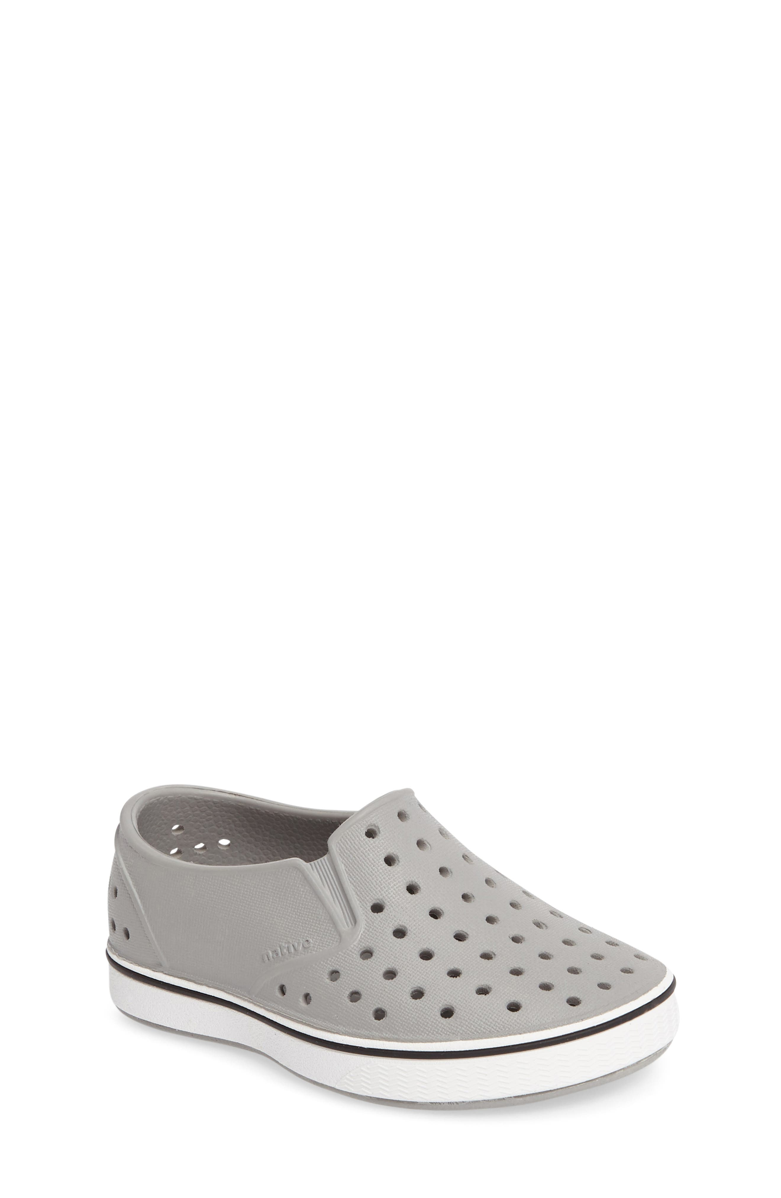 Miles Water Friendly Slip-On Vegan Sneaker, Main, color, PIGEON GREY/ SHELL WHITE