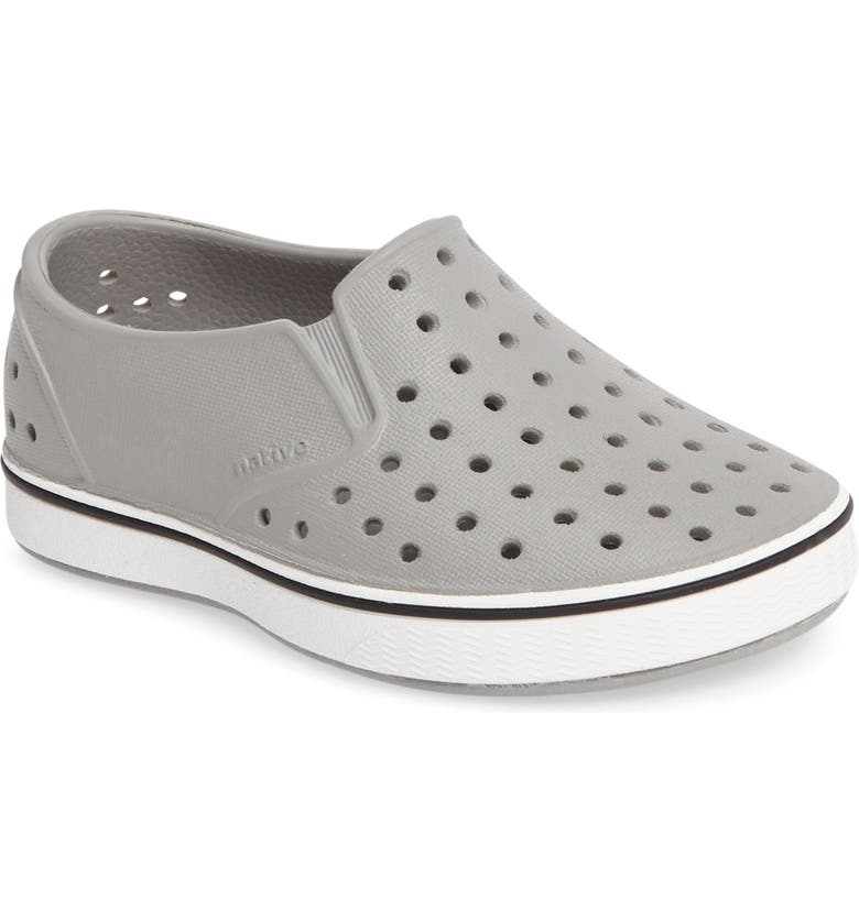 NATIVE SHOES Miles Water Friendly Slip-On Vegan Sneaker, Main, color, PIGEON GREY/ SHELL WHITE