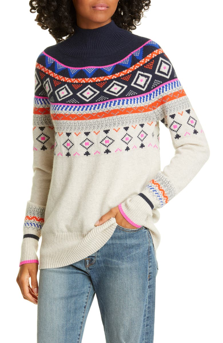 AUTUMN CASHMERE Mock Neck Fair Isle Cashmere Sweater, Main, color, MOJAVE/ NAVY