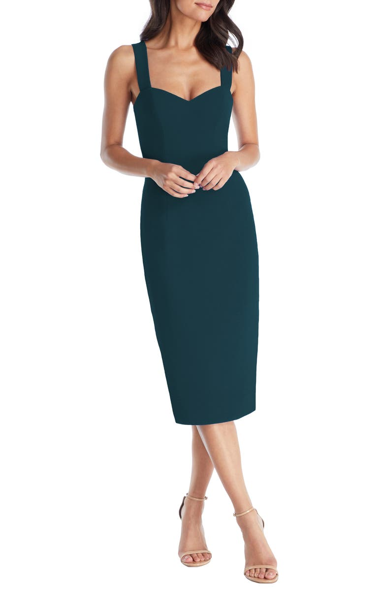 DRESS THE POPULATION Nicole Sweetheart Neck Cocktail Dress, Main, color, PINE