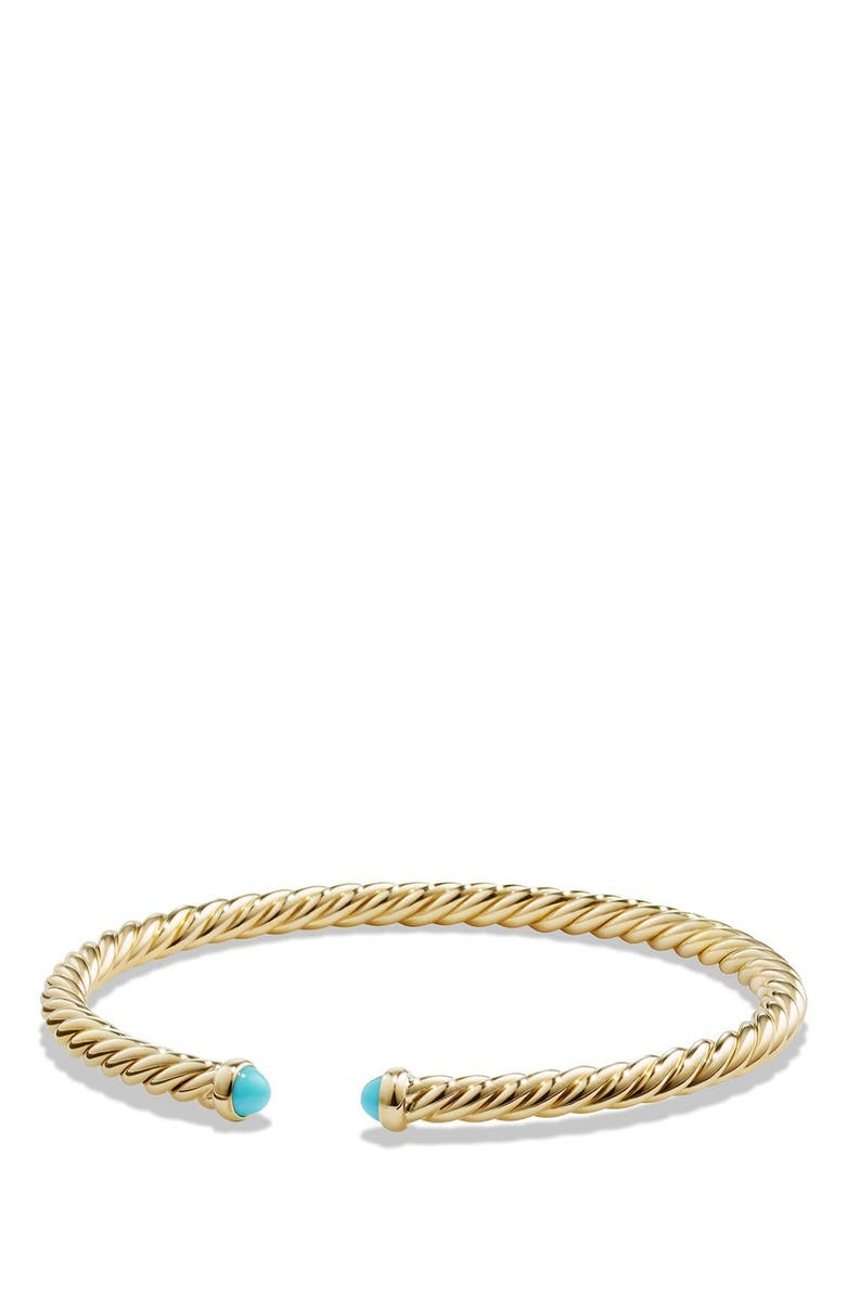 DAVID YURMAN Cable Spira Bracelet with Semiprecious Stones in 18K Gold, Main, color, TURQUOISE