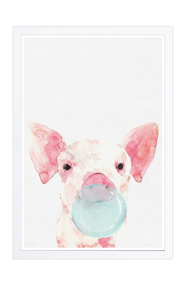 WYNWOOD Piglet Bubblegum Pink Animals Framed Wall Art, Main, color, NONE