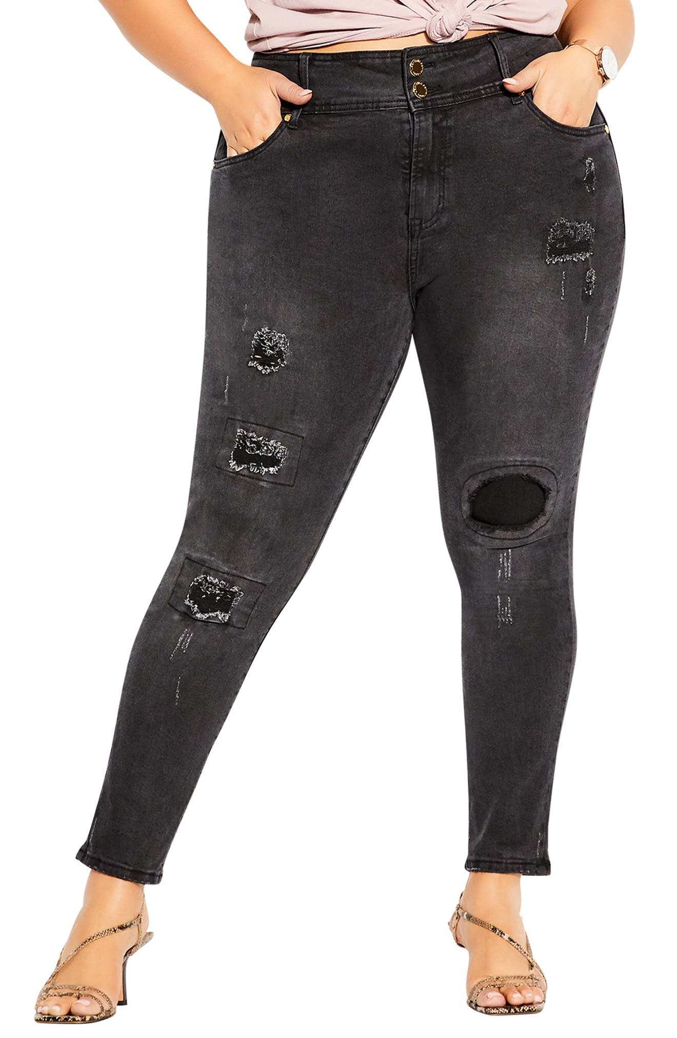 Apple Patched Ankle Skinny Jeans