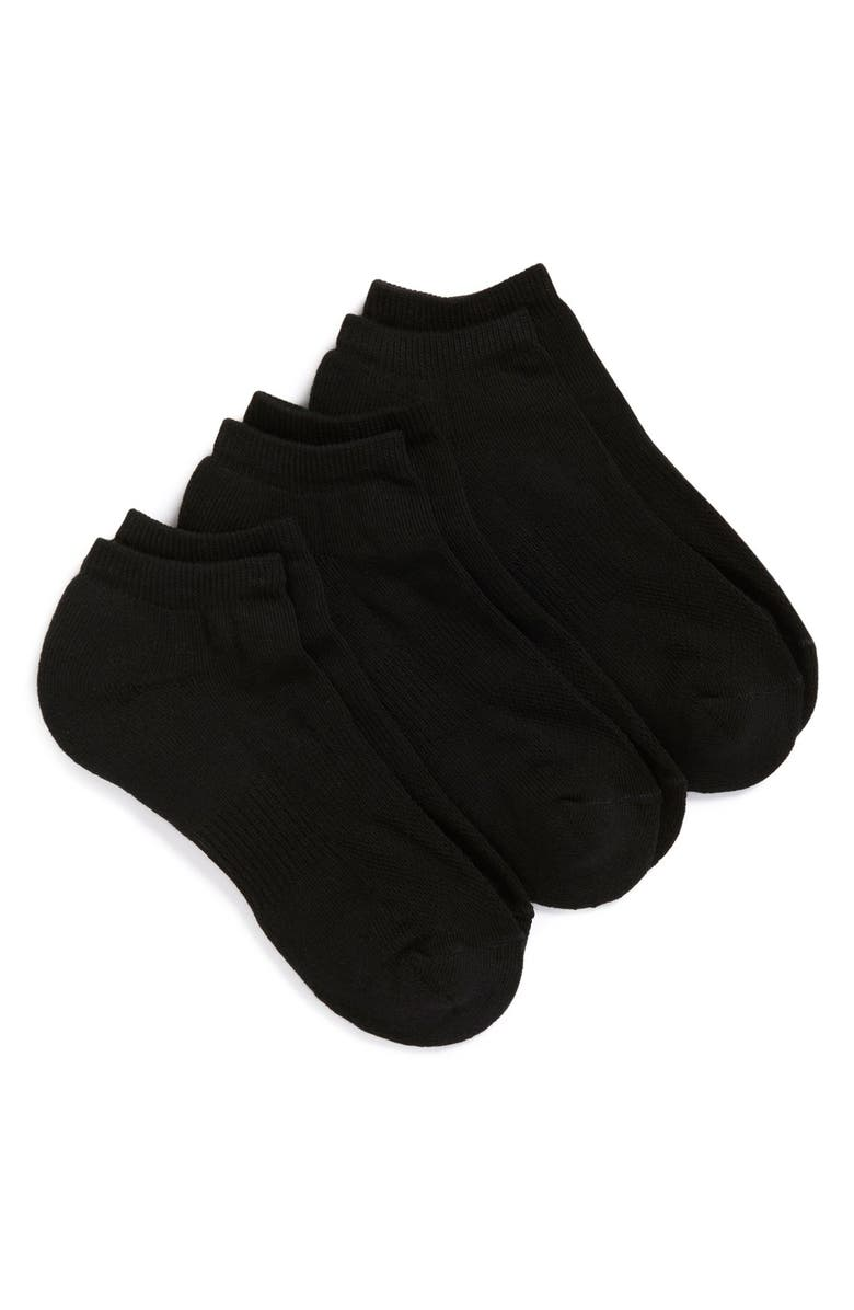 NORDSTROM MEN'S SHOP 3-Pack No-Show Athletic Socks, Main, color, BLACK