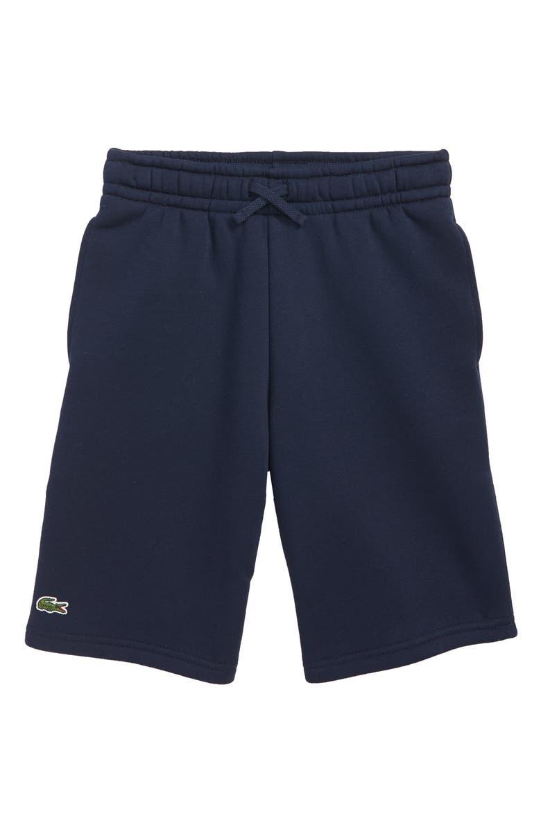 LACOSTE Fleece Shorts, Main, color, NAVY