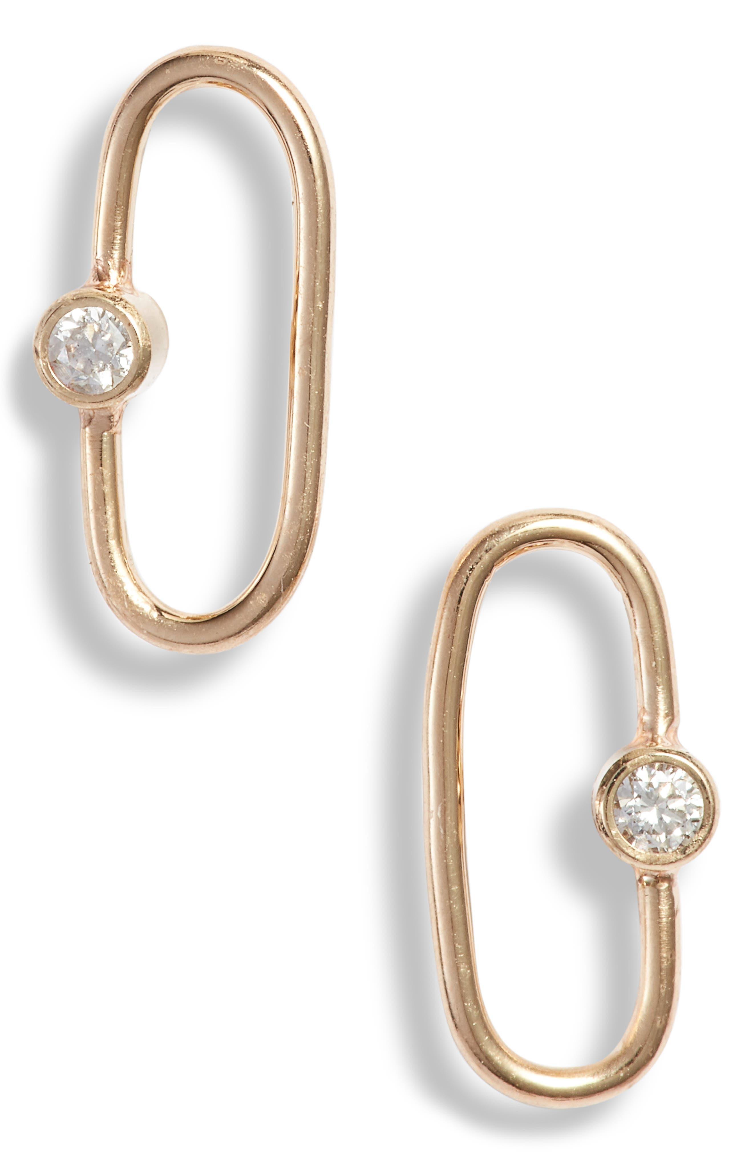 Zoe Chicco Diamond Oval Stud Earrings