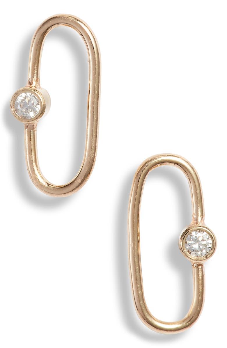 ZOË CHICCO Diamond Oval Stud Earrings, Main, color, 710