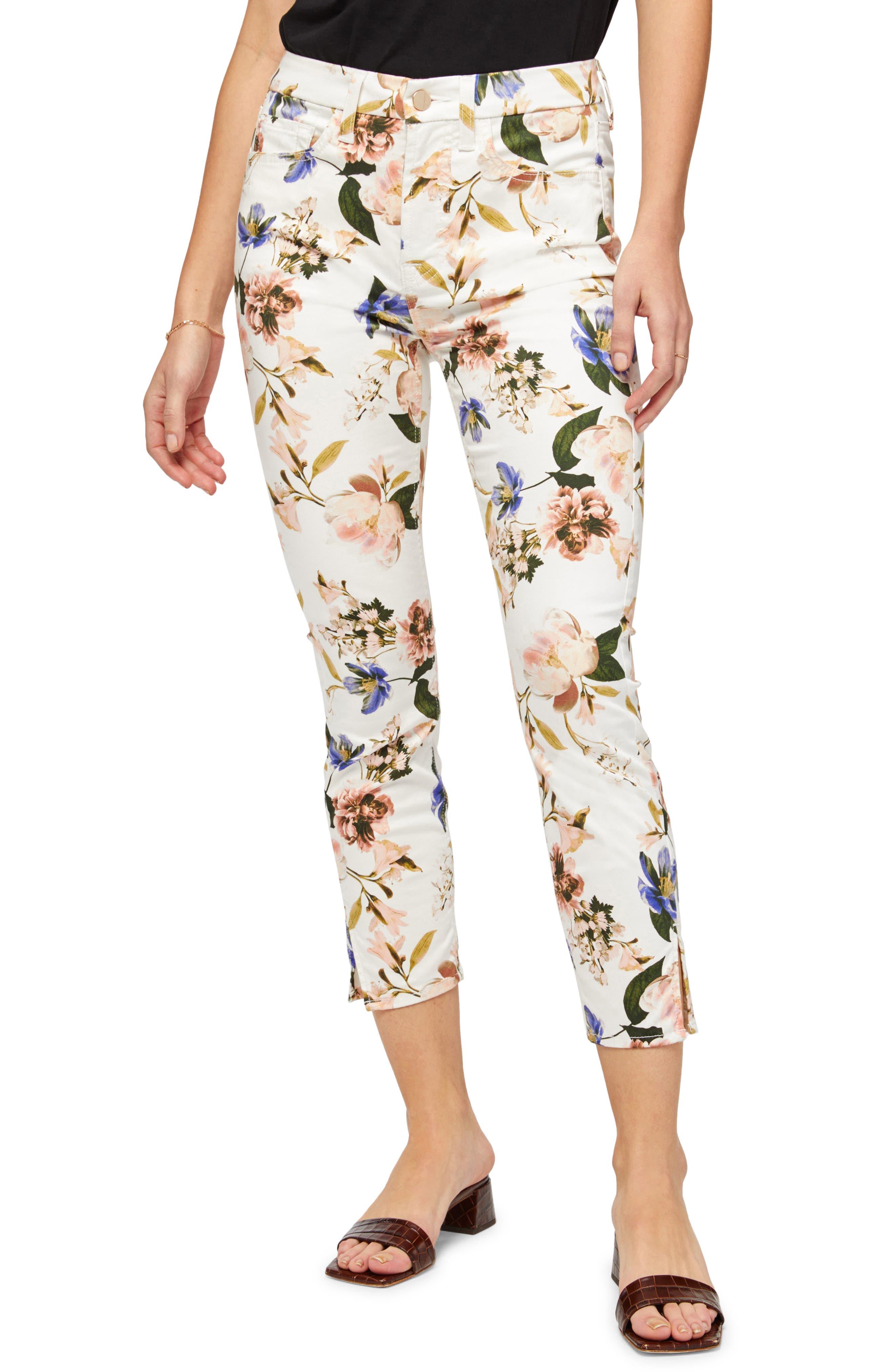 Floral Print Crop Skinny Pants
