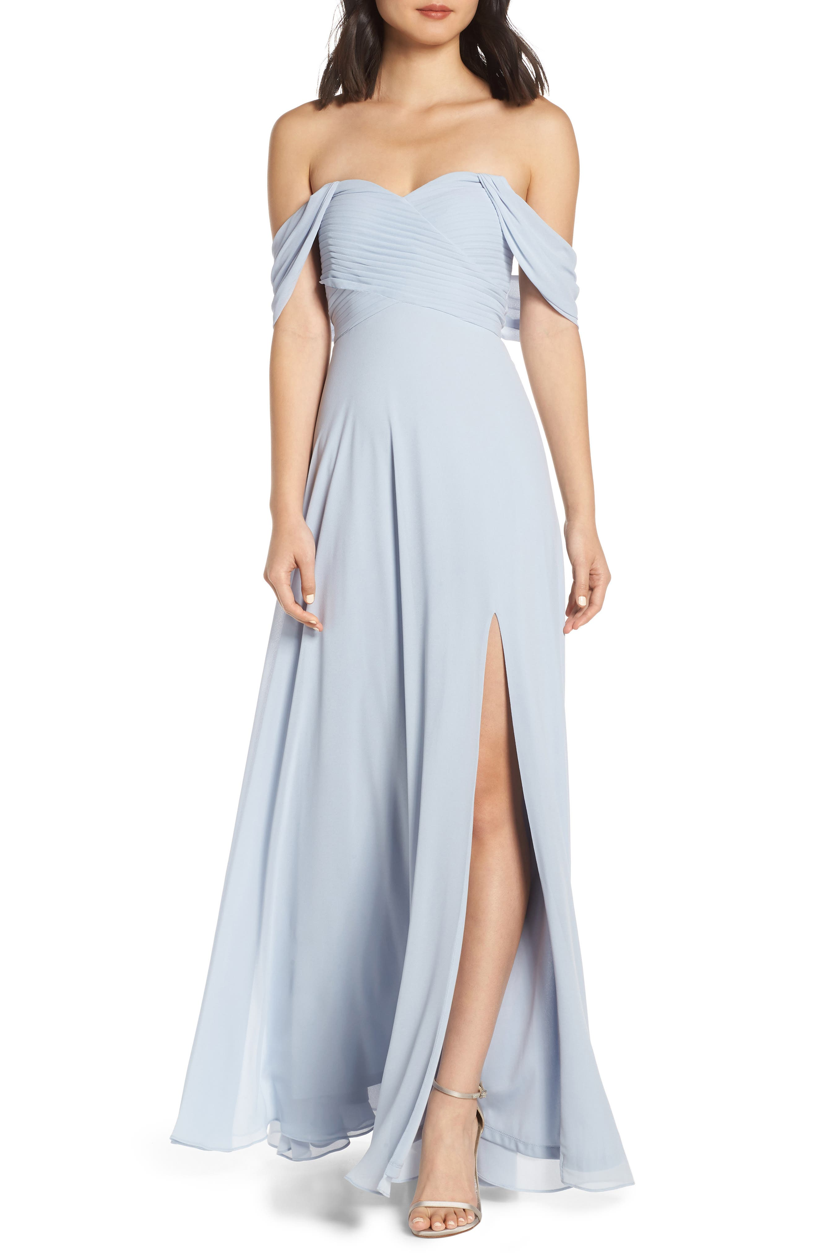 Sequin Hearts Off The Shoulder Georgette Evening Dress, Blue