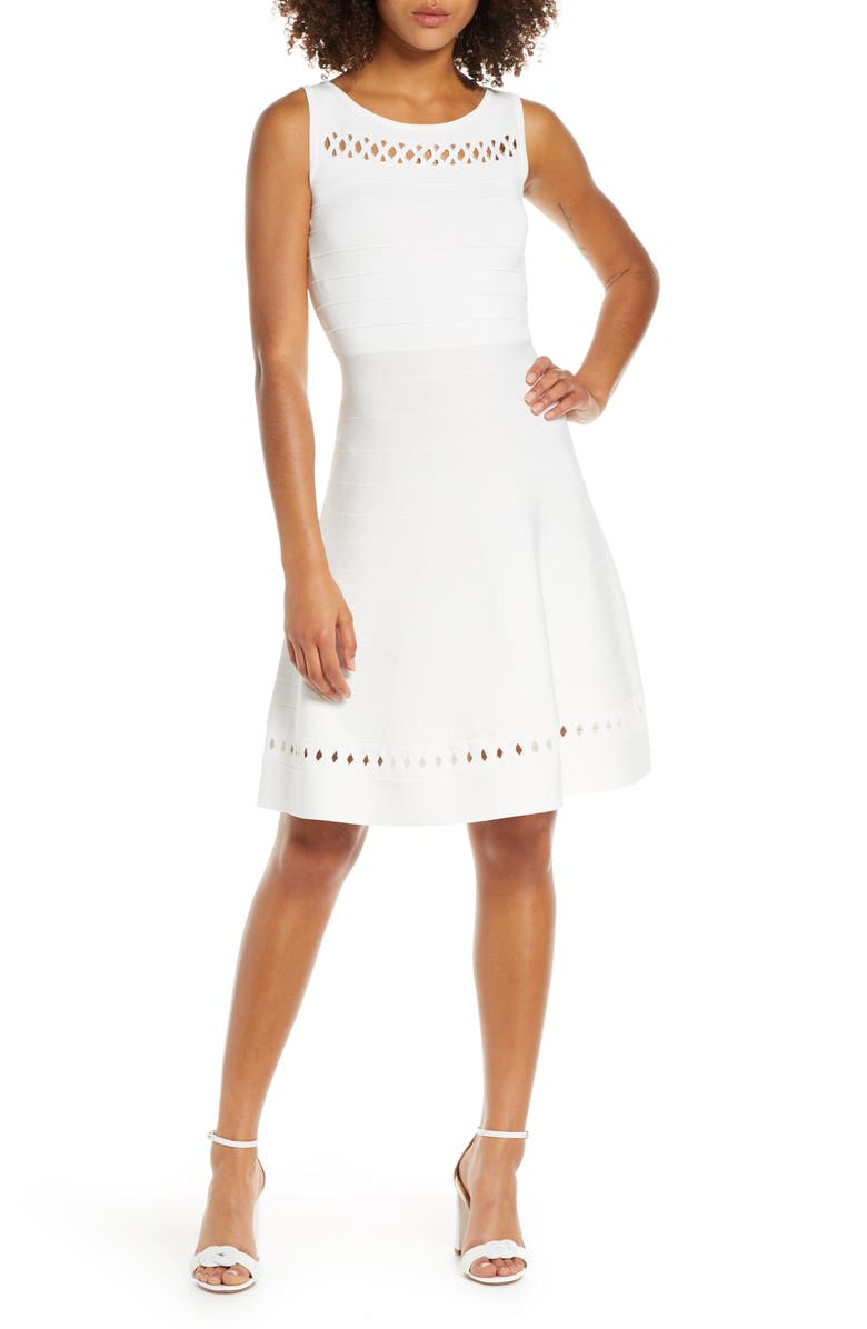 FRENCH CONNECTION Kai Fit & Flare Sweater Dress, Main, color, SUMMER WHITE