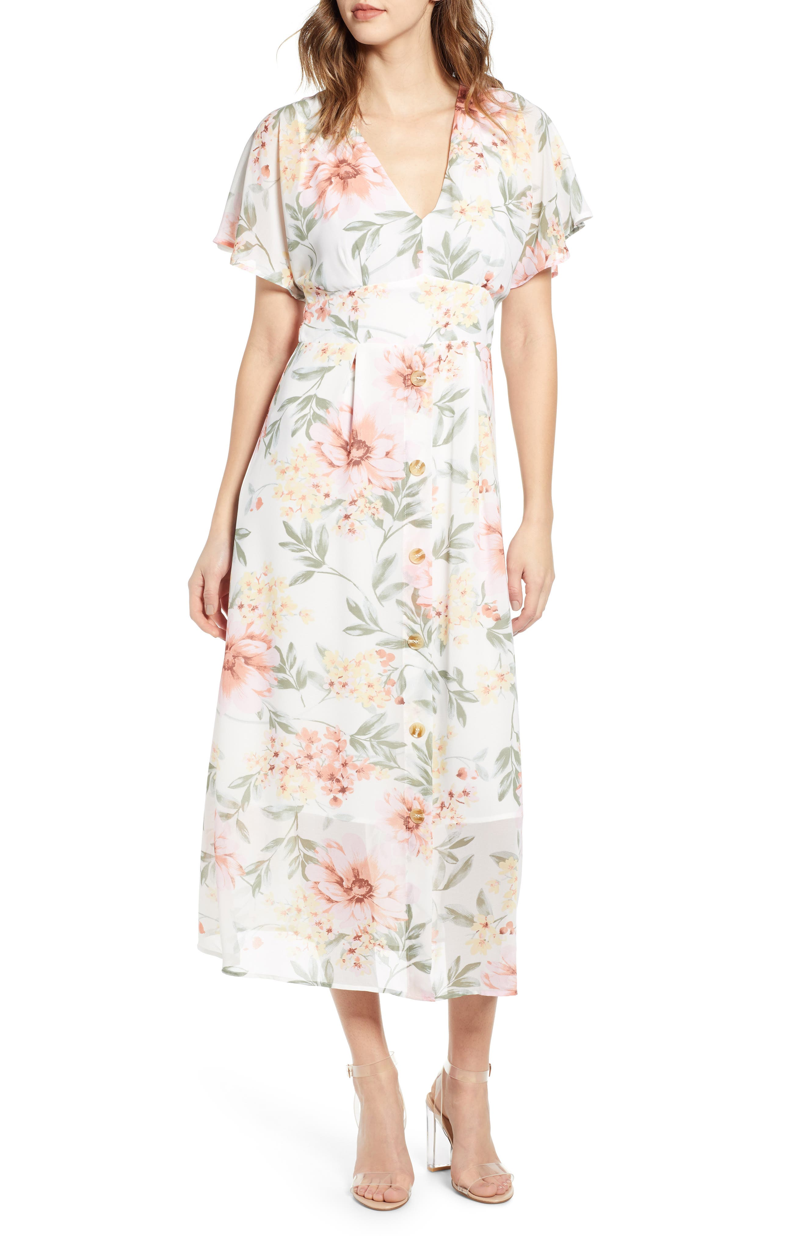 Leith Floral Print Midi Dress, Ivory
