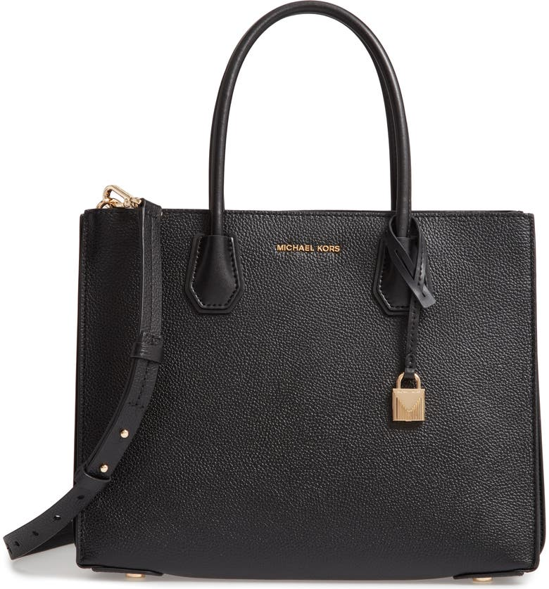 MICHAEL MICHAEL KORS Large Mercer Leather Tote, Main, color, 001