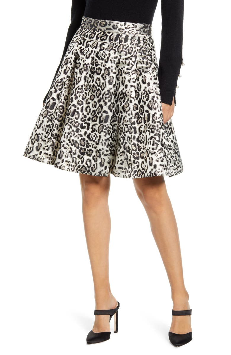 RACHEL PARCELL Metallic Leopard Jacquard Full Skirt, Main, color, TAN METALLIC LEOPARD